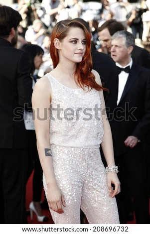 CANNES, FRANCE - MAY 23: Kristen Stewart attends the 'Clouds Of Sils Maria' premiere during the 67th Cannes Film Festival on May 23, 2014 in Cannes, France - stock photo