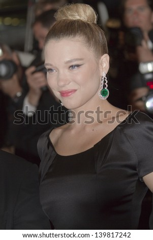 CANNES, FRANCE - MAY 23:  Lea Seydoux attends the 'La Vie D'Adele' premiere during The 66th  Cannes Film Festival at the Palais des Festival on May 23, 2013 in Cannes, France. - stock photo
