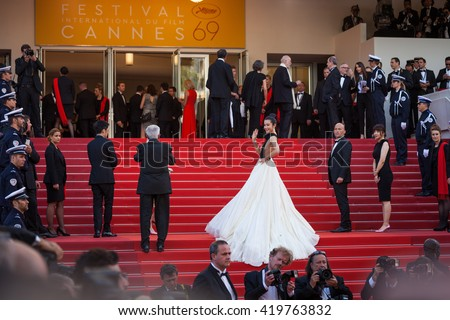 Cannes, France - 11 MAY 2016 - Li Bingbing attends the screening of 'Cafe Society' at the opening gala of the annual 69th Cannes Film Festival - stock photo
