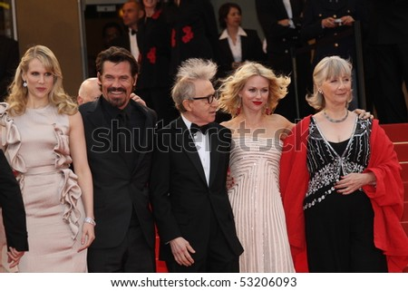 CANNES, FRANCE - MAY 15: Lucy Punch, Naomie Watts, Woody Allen, Josh Brolin and Gemma Jones attend  premiere at the Palais  during the 63 Cannes  Festival on May 15, 2010 in Cannes, France. - stock photo