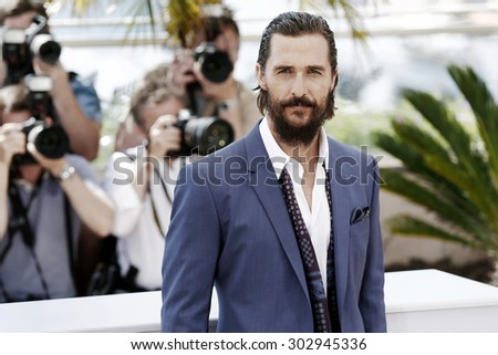 CANNES, FRANCE- MAY 16 : Matthew McConaughey attends the 'The Sea of Trees' photo-call during the 68th Cannes Film Festival on May 16, 2015 in Cannes, France. - stock photo