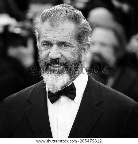 CANNES, FRANCE - MAY 18: Mel Gibson attends 'The Expendables 3' Premiere during the 67th Cannes Film Festival on May 18, 2014 in Cannes, France. - stock photo