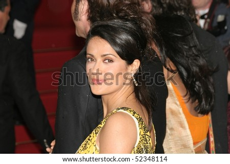 CANNES, FRANCE - MAY 17: Mexican actress and juror Salma Hayek attends the screening of 'Broken Flowers' at the Grand Theatre during the 58th Cannes Film Festival May 17, 2005 in Cannes, France - stock photo
