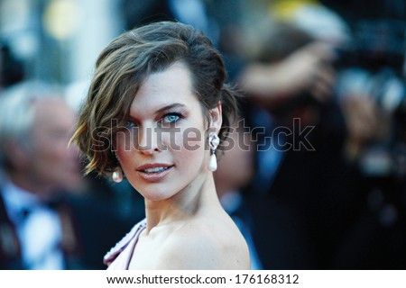 CANNES, FRANCE - MAY 23: Mila Jovovich attends 'On The Road' Premiere at Palais des Festivals on May 23, 2012 in Cannes, France. - stock photo