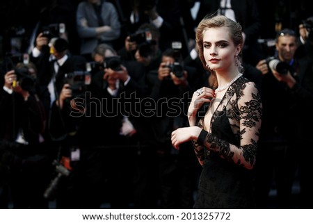 CANNES, FRANCE - MAY 15: Model Cara Delevingne attends the Opening Ceremony during the 66th Cannes Film Festival on May 15, 2013 in Cannes, France.  - stock photo