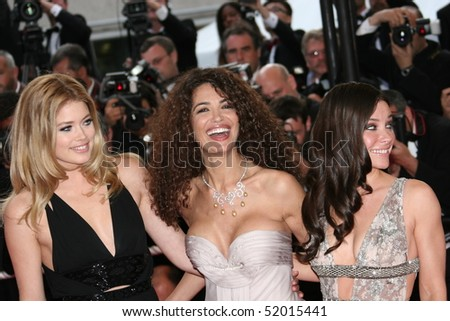 CANNES, FRANCE - MAY 17:  Models Doutzen Kroes, Afef Jnifen and actress Evangeline Lilly attend the Vengeance Premiere at the  Theatre  during the 62 Cannes  Festival on May 17, 2009 in Cannes, France - stock photo