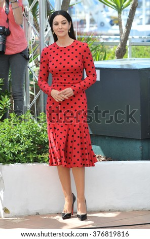 "CANNES, FRANCE - MAY 18, 2014: Monica Bellucci at the photocall for her movie ""The Wonders"" at the 67th Festival de Cannes."