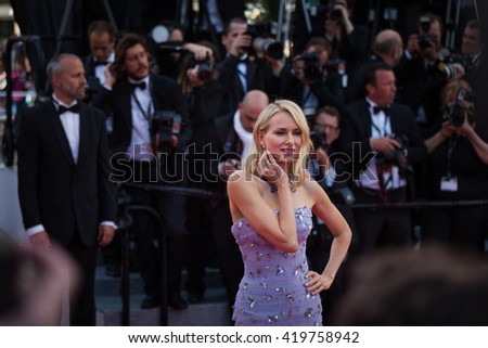 Cannes, France - 11 MAY 2016 - Naomi Watts attends the screening of 'Cafe Society' at the opening gala of the annual 69th Cannes Film Festival at Palais des Festivals - stock photo