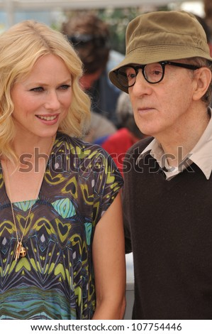 "CANNES, FRANCE - MAY 15, 2010: Naomi Watts & Woody Allen at the photocall for their movie ""You Will Meet A Tall Dark Stranger"" out of competition at the 63rd Festival de Cannes. - stock photo"