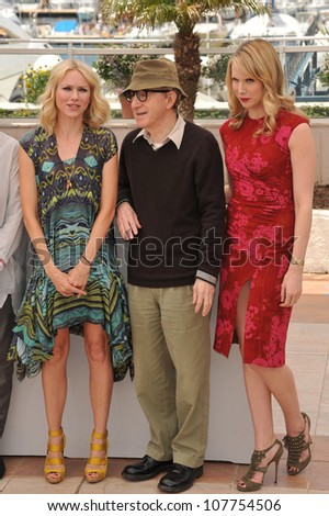 "CANNES, FRANCE - MAY 15, 2010: Naomi Watts & Woody Allen & Lucy Punch at the photocall for their movie ""You Will Meet A Tall Dark Stranger"" out of competition at the 63rd Festival de Cannes. - stock photo"