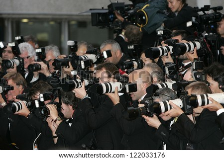 CANNES, France - May 15: News photographers during the Cannes Film Festival on May 15, 2009 in Cannes, France