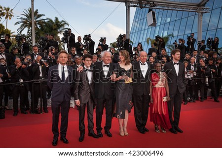Cannes, France - 18 MAY 2016 - Olivier Bonnaud, Nadege Ouedraogo, Luc Dardenne, Adele Haenel, Jean-Pierre Dardenne, Louka Minnella and Jeremie Renier attend 'The Unknown Girl (La Fille Inconnue)'  - stock photo