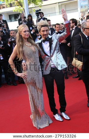 CANNES, FRANCE - MAY 18: Paris Hilton and Sun Zu Yang  attend the Premiere of 'Inside Out' during the 68th annual Cannes Film Festival on May 18, 2015 in Cannes, France. - stock photo