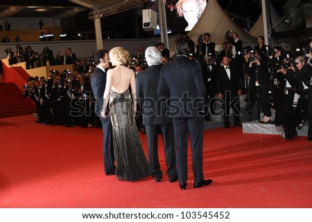 CANNES, FRANCE - MAY 25:   Philip Kaufman, Nicole Kidman, Clive Owen  attend the 'Hemingway & Gellhorn' Premiere during the 65th  Cannes Film Festival at Palais  on May 25, 2012 in Cannes, France. - stock photo