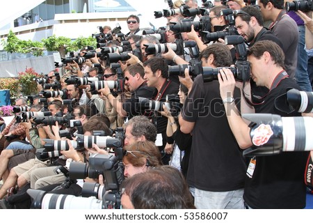 CANNES, FRANCE - MAY 20: Photographers attend the 'Our Life' Photo Call held at the Palais des Festivals during the 63rd  Cannes Film Festival on May 20, 2010 in Cannes, France - stock photo