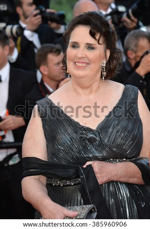 """CANNES, FRANCE - MAY 18, 2015: Phyllis Smith at the gala premiere of Disney/Pixar's """"Inside Out"""" at the 68th Festival de Cannes. - stock photo"""