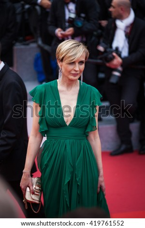 Cannes, France - 11 MAY 2016 - Producer Melita Toscan du Plantier arrives at the Opening Gala Dinner during The 69th Annual Cannes Film Festival - stock photo