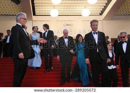 CANNES, FRANCE - MAY 20, 2015: Rachel Weisz, Harvey Keitel, Paul Dano,  Sir Michael Caine   attend the 'Youth' Premiere during the 68th annual Cannes Film Festival on May 20, 2015 in Cannes, France. - stock photo