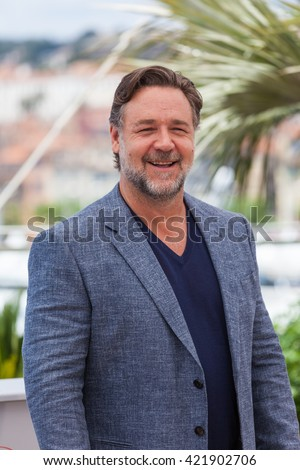 Cannes, France - 15 MAY 2016 - Russell Crowe attends 'The Nice Guys' photocall during the 69th annual Cannes Film Festival at the Palais des Festivals - stock photo