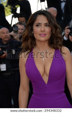 """CANNES, FRANCE - MAY 17, 2015: Salma Hayek at the gala premiere of """"Carol"""" at the 68th Festival de Cannes. - stock photo"""