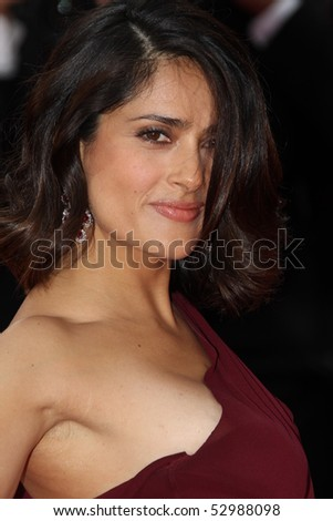 CANNES, FRANCE - MAY 12: Salma Hayek attend the 'Robin Hood' Premiere at the Palais des Festivals during the 63rd Cannes Film Festival on May 12, 2010 in Cannes, France - stock photo