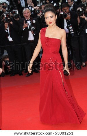 CANNES, FRANCE - MAY 14: Salma Hayek attends the Premiere of 'Wall Street 2' held at the Palais des Festivals during the 63rd  Cannes Film Festival on May 14, 2010 in Cannes, France - stock photo