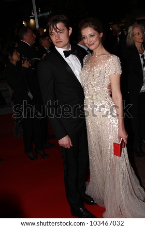 CANNES, FRANCE - MAY 23: Sam Riley and Alexandra Maria Lara attends the 'On The Road' Premiere during the 65th Cannes Film Festival at Palais des Festivals on May 23, 2012 in Cannes, France. - stock photo