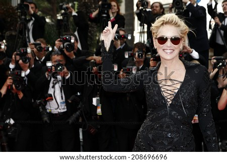 CANNES, FRANCE - MAY 21: Sharon Stone attends 'The Search' Premiere during the 67th Cannes Film Festival on May 21, 2014 in Cannes, France. - stock photo