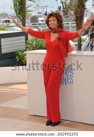 CANNES, FRANCE - MAY 21, 2014: Sophia Loren at her photocall at the 67th Festival de Cannes, where she is being honored.