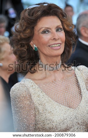 "CANNES, FRANCE - MAY 20, 2014: Sophia Loren at the gala premiere of ""Two Days, One Night"" at the 67th Festival de Cannes.  - stock photo"