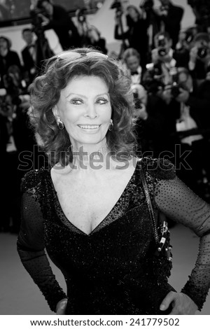 CANNES, FRANCE - MAY 24: Sophia Loren attend the Closing Ceremony and 'A Fistful of Dollars' Screening during the 67th Annual Cannes Film Festival on May 24, 2014 in Cannes, France. - stock photo
