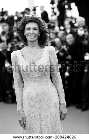 CANNES, FRANCE - MAY 20: Sophia Loren attends the 'Two Days, One Night' premiere during the 67th Cannes Film Festival on May 20, 2014 in Cannes, France - stock photo