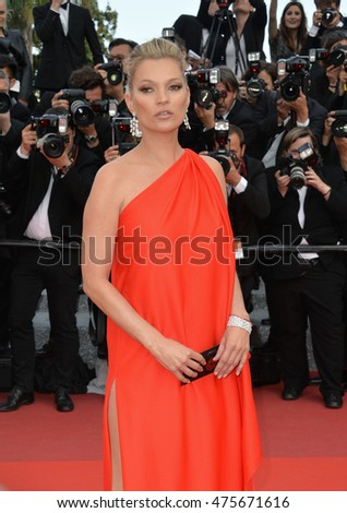 "CANNES, FRANCE - MAY 16, 2016: Supermodel Kate Moss at the gala premiere for ""Loving"" at the 69th Festival de Cannes."