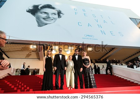 Cannes, France - May 16, 2015: Thierry Fremaux, Beatrice Mancini, John Turturro, Guilia Lazzarini, Nanni Moretti, Margherita Buy. 'My Mother' Premiere during the 68th annual Cannes Film Festival on May 16, 2015 in Cannes, France. - stock photo
