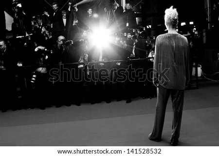 CANNES, FRANCE - MAY 25: Tilda Swinton attends the Premiere of 'Only Lovers Left Alive' during the 66th Annual Cannes Film Festival at the Palais des Festivals on May 25, 2013 in Cannes, France. - stock photo