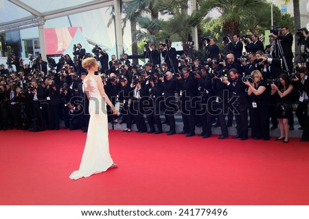 CANNES, FRANCE - MAY 24: Uma Thurman attend the Closing Ceremony and 'A Fistful of Dollars' Screening during the 67th Annual Cannes Film Festival on May 24, 2014 in Cannes, France. - stock photo