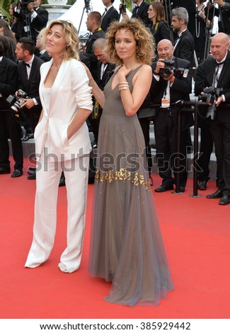 CANNES, FRANCE - MAY 24, 2015: Valeria Bruni Tedeschi (left) & Valeria Golino at the closing gala at the 68th Festival de Cannes.