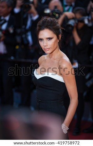 Cannes, France - 11 MAY 2016 - Victoria Beckham attends the screening of 'Cafe Society' at the opening gala of the annual 69th Cannes Film Festival at Palais des Festivals - stock photo