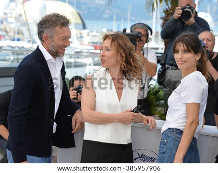 "CANNES, FRANCE - MAY 17, 2015: Vincent Cassel, Emmanuelle Bercot & director Maiwenn at the photocall for their movie ""My King"" (Mon Roi) at the 68th Festival de Cannes."