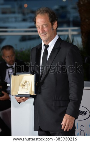 CANNES, FRANCE - MAY 24, 2015: Vincent Lindon - winner of Best Actor award at the winners' photocall at the 68th Festival de Cannes.