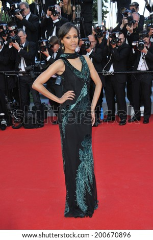 "CANNES, FRANCE - MAY 15, 2014: Zoe Saldana at the premiere of ""Mr. Turner"" at the 67th Festival de Cannes."