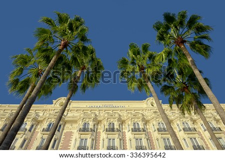 CANNES,FRANCE - OCTOBER 23 2015 : The luxury Carlton hotel, where celebrities are welcomed during the film festival - stock photo