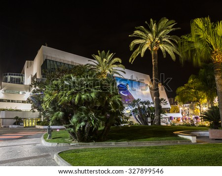 CANNES, FRANCE - September 8 2015, Night view. Casino in Palace of Film in Cannes.
