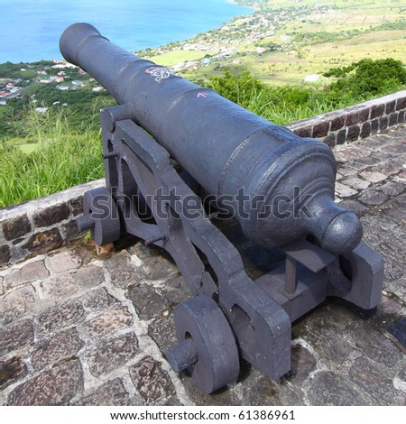 Cannon at Brimstone Hill Fortress National Park on Saint Kitts - stock photo