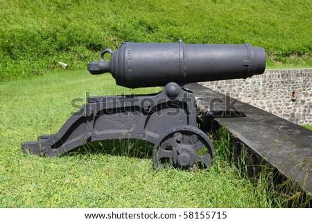 Cannon at Brimstone Hill Fortress - Saint Kitts - stock photo