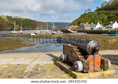 Cannon  at Fishguard a coastal town in Pembrokeshire, south west Wales UK Europe - stock photo