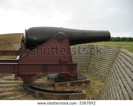Cannon at old Fort Moultry - stock photo