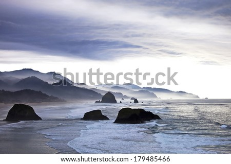 Cannon beach in Portland on cloudy day - stock photo