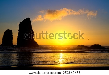Cannon Beach Sunset, Oregon USA Tourism  - stock photo