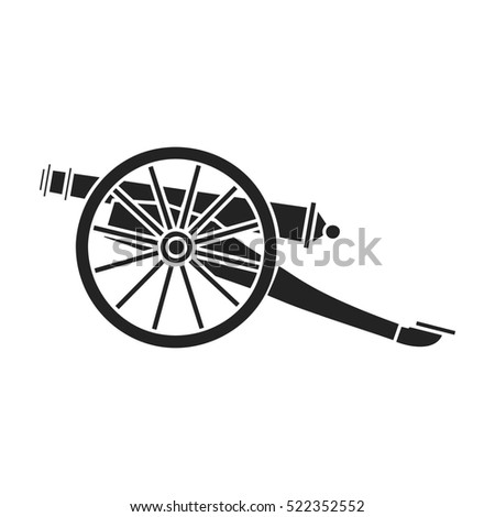 Cannon icon in black style isolated on white background. Museum symbol stock bitmap illustration.
